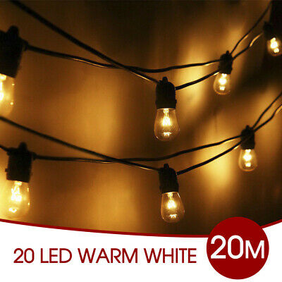 20pcs Festoon String Clear Globe Lights Kit Party Wedding Vintage Retro 20M AU