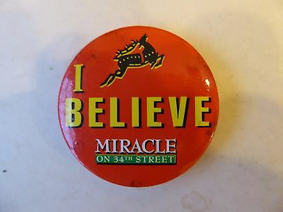 """Vintage Miracle On 34th Street """"I Believe"""" Christmas Film  Promotional Badge"""