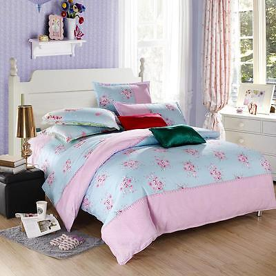 Pink Flower Single Double Queen King Size Bed Set Pillowcase Quilt Duvet Cover