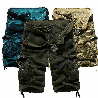 Men's Casual Loose Army Camouflage Combat Camo Work Cargo Shorts Pants Trousers