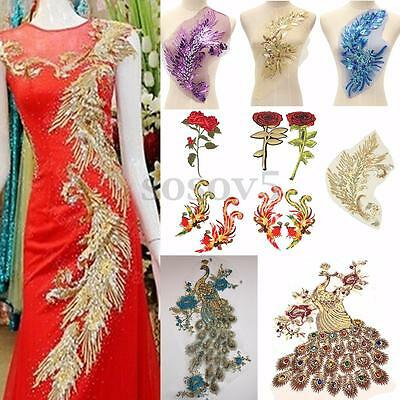 Women Peacock Sequin Embroidered Lace Applique Motif Sewing Patch Costume Dress