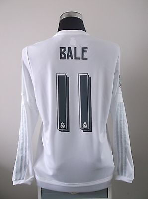 Gareth BALE #11 Real Madrid Long Sleeve Home Football Shirt Jersey 2015/16 (L)