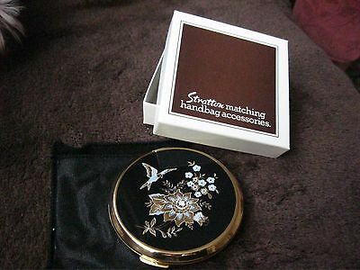 Stratton Compact Mirror Blue/gold Flowers Birds  New In Box