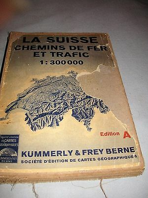 antique cloth and paper folding map of Switzerland