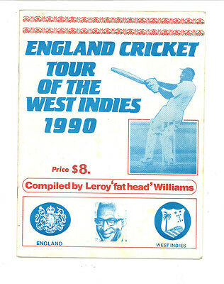 ENGLAND CRICKET TOUR OF THE WEST INDIES 1990 by L Williams Brochure programme