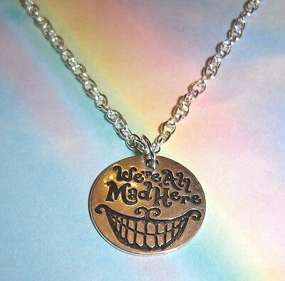 We're All Mad Here Necklace Silver Grinning Cheshire Cat Alice In Wonderland
