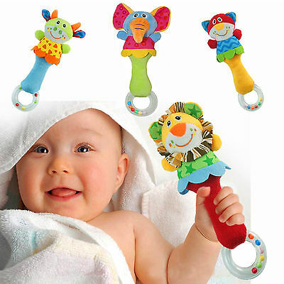 Animal Handbells Musical Developmental Toy Bed Bells Kids Baby Soft Toys Rattle
