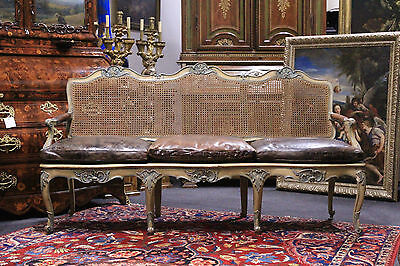 Small Sofa French A Three Places,period '700/straw Di Vienna/pillows Leather