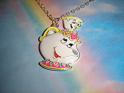 Mrs Potts And Chip Cup Enamel Pendant Necklace Beauty And The Beast