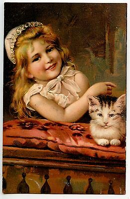 Relief Charmante Fillette Et Son Amour De Chat Charming  Girlie And Its Cat Love
