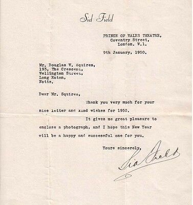 Sid Field (1950 Letter) Signed Autograph