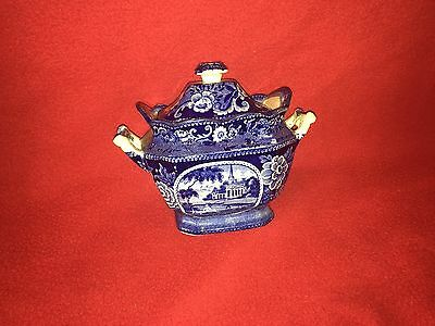 Historical Staffordshire Virginia Church Sugar Bowl Dark Blue Ca. 1825