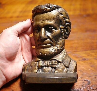 Pair of Vintage ABRAHAM LINCOLN Bronze Colored Heavy Cast Iron BOOKENDS