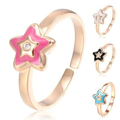 Womens Girls Teen 14k Gold Filled Star Ring Size 4+ Adjustable Parental jewelry