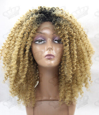 Ladies Afro Kinky Curly Glueless New Synthetic Lace Front Wig Ombre Black/Blonde