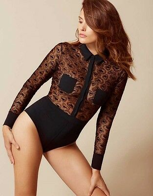 Agent Provocateur GINA BODY in BLACK TULLE & GOLD - UK 12/ US 8  - BNWT