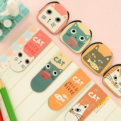 2X Cartoon Cat Kitten Magnet Bookmark Stationery Souvenir Collection Kid Gift ES