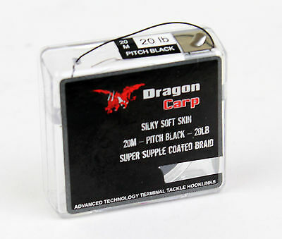 Dragon Leader Supple coated Braid 20M Pitch Black 20lb hooklink carp fishing YY