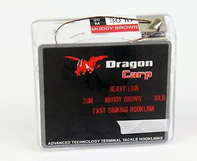 Dragon Leader Supple coated Braid -20Mtrs Muddy Brown 20lb hooklink carp OA