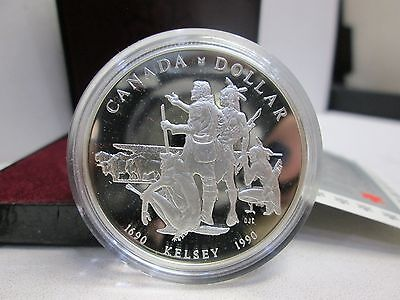 1990 Kelsey Canadian Proof Like Silver Dollar With Box & Coa