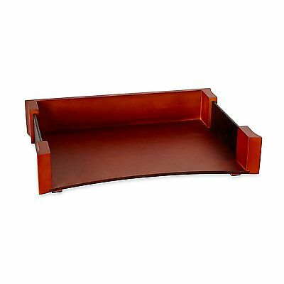 Rolodex Wood and Faux Leather Letter Tray, Letter-Size, Mahogany and Black
