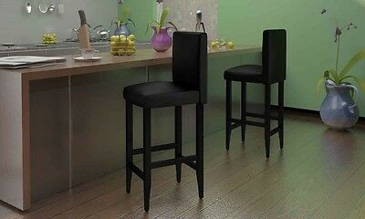 New 2pc Leather Bar Stools Set Kitchen Dining Chair Timber Black Back Foot Rest
