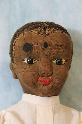 "Antique 20"" Beecher-type Black Cloth Doll circa 1893 Missionary Rag doll"