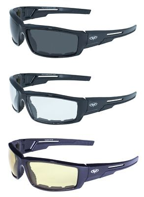3 Sly Motorcycle Riding Biker Quad Glasses Sunglasses Clear Smoke Yellow Padded
