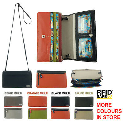 RFID PROTECTED Multi Coloured Genuine Leather Ladies Women Cross Body Sling Bag