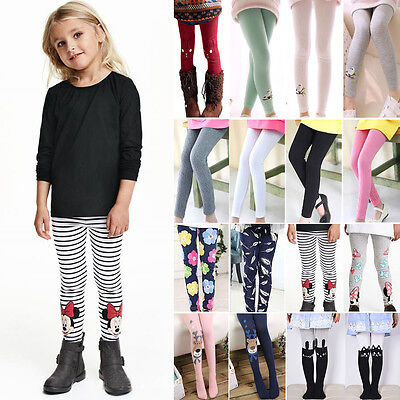 Kids Girls Thick Warm Lined Skinny Leggings Cartoon Casual Tight Trousers Pants