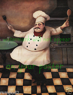 French Kitchen Art Poster//Print//Fat Chef Holding Bread// 16x20 inch