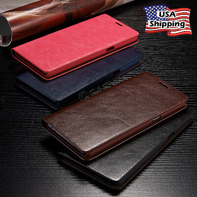 THIN Genuine Leather Wallet Card Case Flip Cover For Galaxy Note 8/S9+/S8 Plus