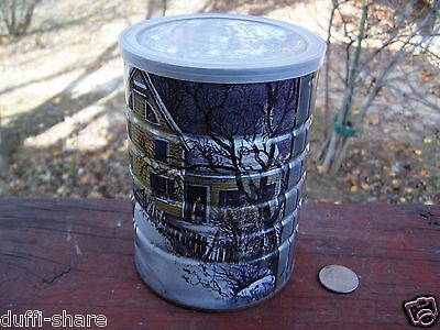 MAXWELL HOUSE Coffee Tin Currier & Ives AMERICAN HOMESTEAD WINTER 1960s 70s