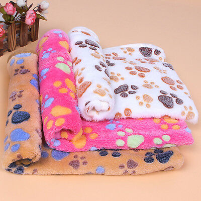 Hot Warm Pet Mat Small Paw Print Cat Dog Puppy Fleece Soft Blanket Bed Cushion