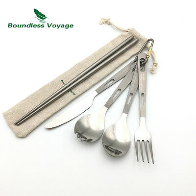 Titanium Flatware Set Spork Spoon Knife Fork Chopsticks Set Camping Cutlery