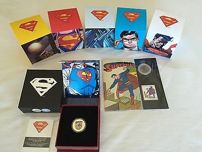 CANADA 2013 SUPERMAN COINS (ALL 7 ) including the Gold Coin + Book