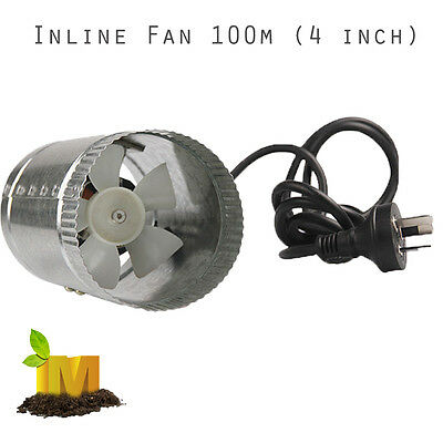 "100mm (4"")  Inline Ventilation Exhaust Fan Intake Air Flow Booster Hydroponics"