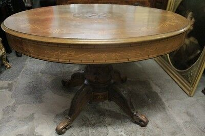 Wunderbar Antike Tabelle Oval Dell'800 In Walnuss Old-Time 1830 Intarsien Mit