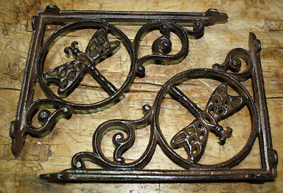 2 Cast Iron Antique Style DRAGONFLY Brackets, Garden Braces Shelf Bracket HEAVY