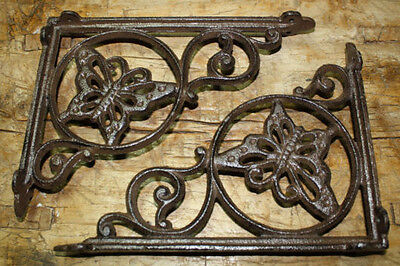 6 Cast Iron Antique Style BUTTERFLY Brackets, Garden Braces Shelf Bracket HEAVY