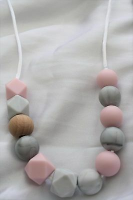 Silicone Necklace (was teething) mum Marble pink jewellery baby sensory