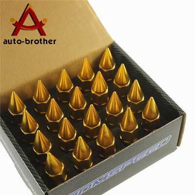 Gold 20PCS Aluminum SPIKED Extended Tuner 60mm Lug Nuts Wheels Rims M12X1.5