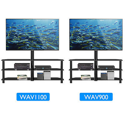 "Tempered Glass TV Stand Cantilever w/ Swivel Wall Bracket 32-55"" Plasma LCD LED"