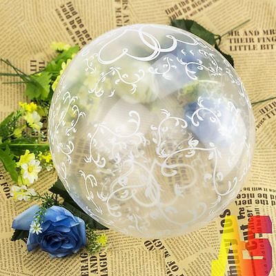 """20pcs 12"""" Clear Entwined Hearts Balloons / Helium or Air / Wedding Engagement UK"""
