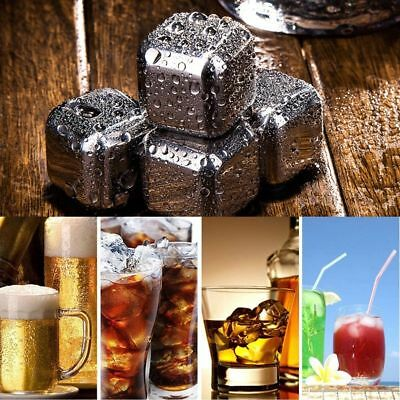 8PCS Reusable Stainless Steel Whisky Stone Wine Drink Chiller Cooler Ball Tongs