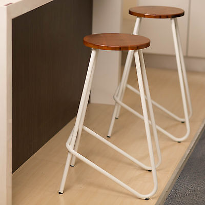 Metal Bar Stool 4 x ELM Kitchen Natural Wood Chair Stools WHITE Industrial