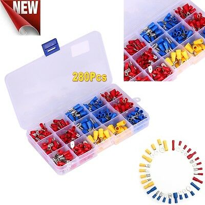 Electrical Wire Connector 280pcs Assorted Insulated Crimp Terminals Spade Set AU