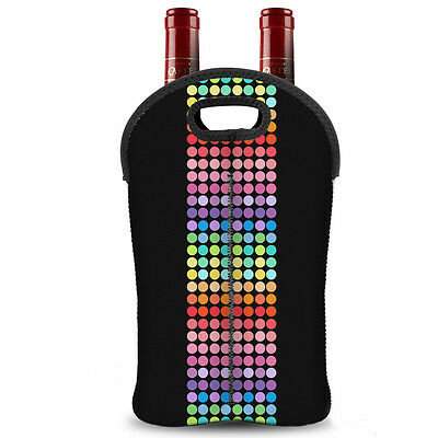 Insulated Wine Bag 2-Bottle Carrier Neoprene Holder Picnic Travel Outdoor