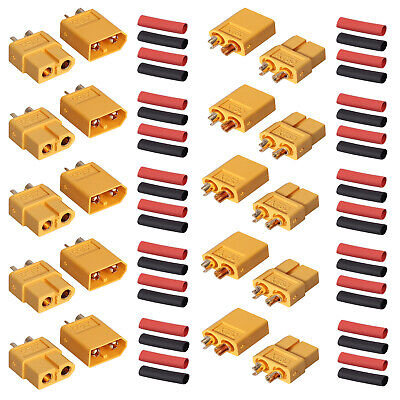 10pairs XT60 Power Plug Connectors with 20 pairs Heat Shrink for RC Lipo Battery