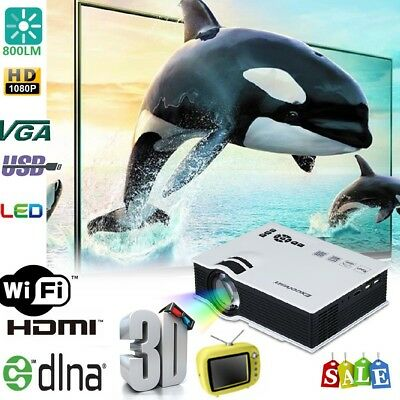 1500Lumen Mini LCD LED WIFI Android HD Projector Home Theater Cinema AV/HDMI/USB